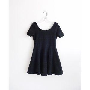 H&M Divided Black Stretch Fit + Flare Mini Dress S